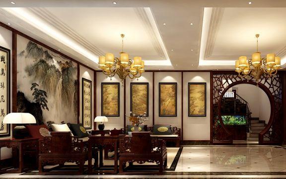 现代中式风格88平米三室两厅室内装修效果图