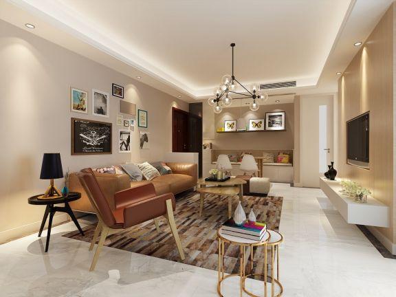 简约风格95平米三室两厅室内装修效果图