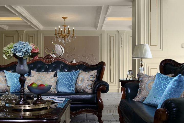 客厅咖啡色茶几简欧风格装修图片