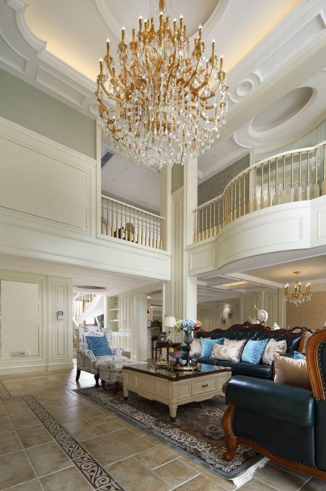 客厅灰色地板砖简欧风格装潢图片