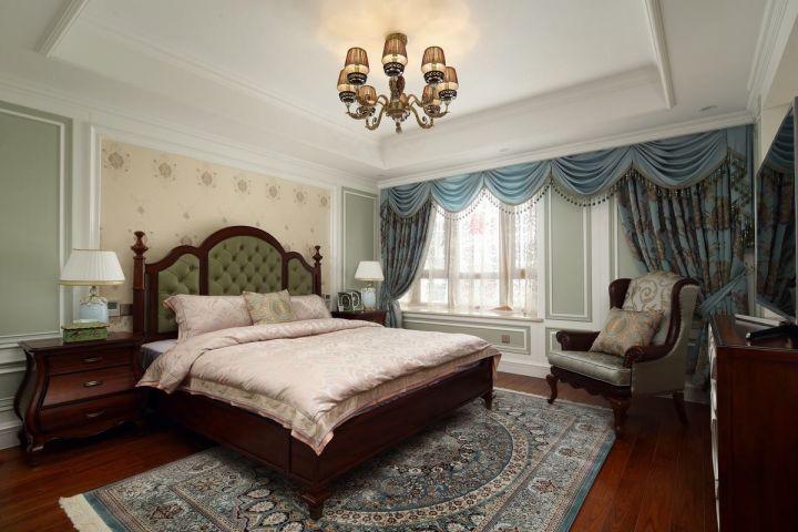 古朴蓝色窗帘家装设计图