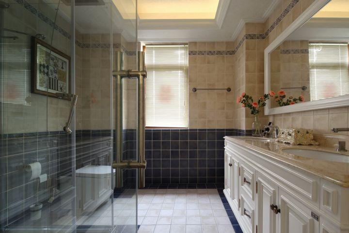 卫生间白色洗漱台简欧风格装潢设计图片