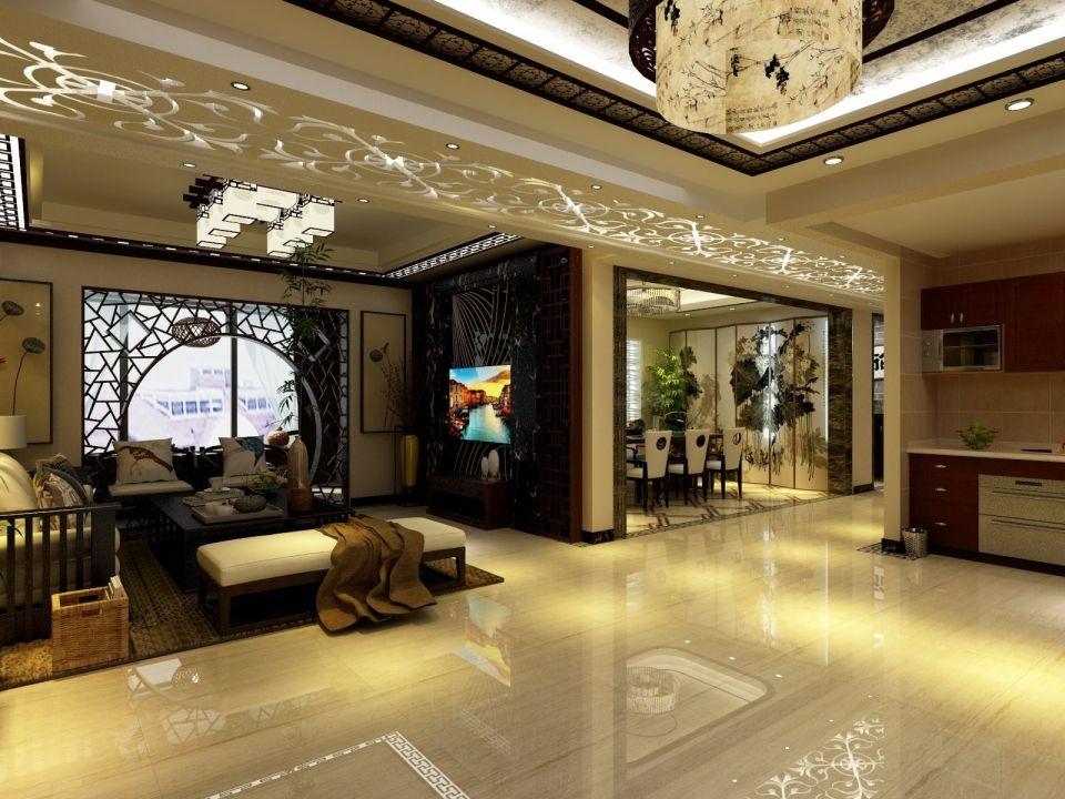 客厅米色走廊新中式风格装潢图片