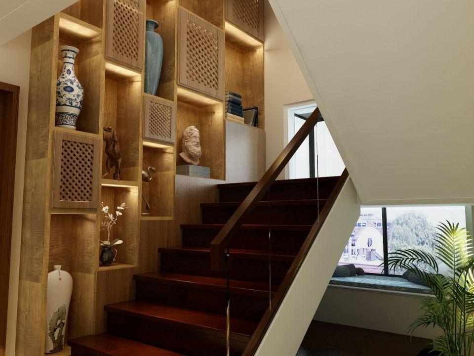 客厅红色楼梯新中式风格装修设计图片