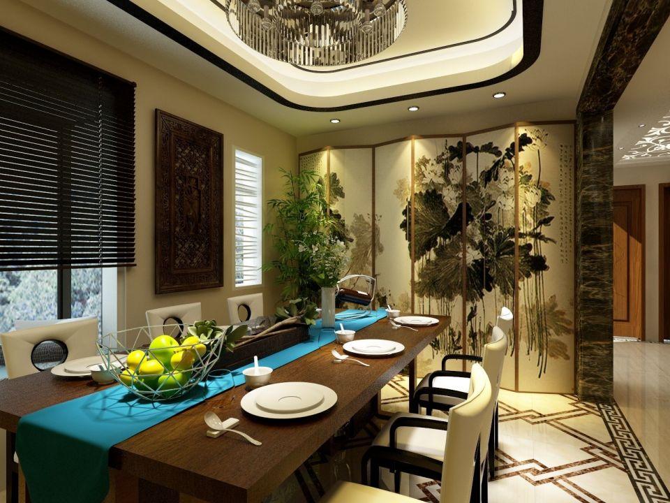 餐厅咖啡色餐桌新中式风格装饰设计图片