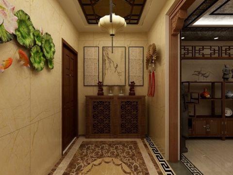玄关米色背景墙新中式风格装饰效果图