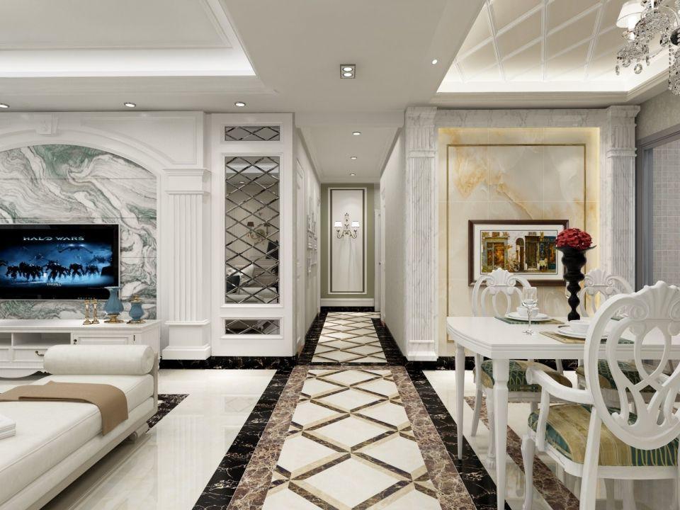 客厅白色走廊欧式风格装饰效果图