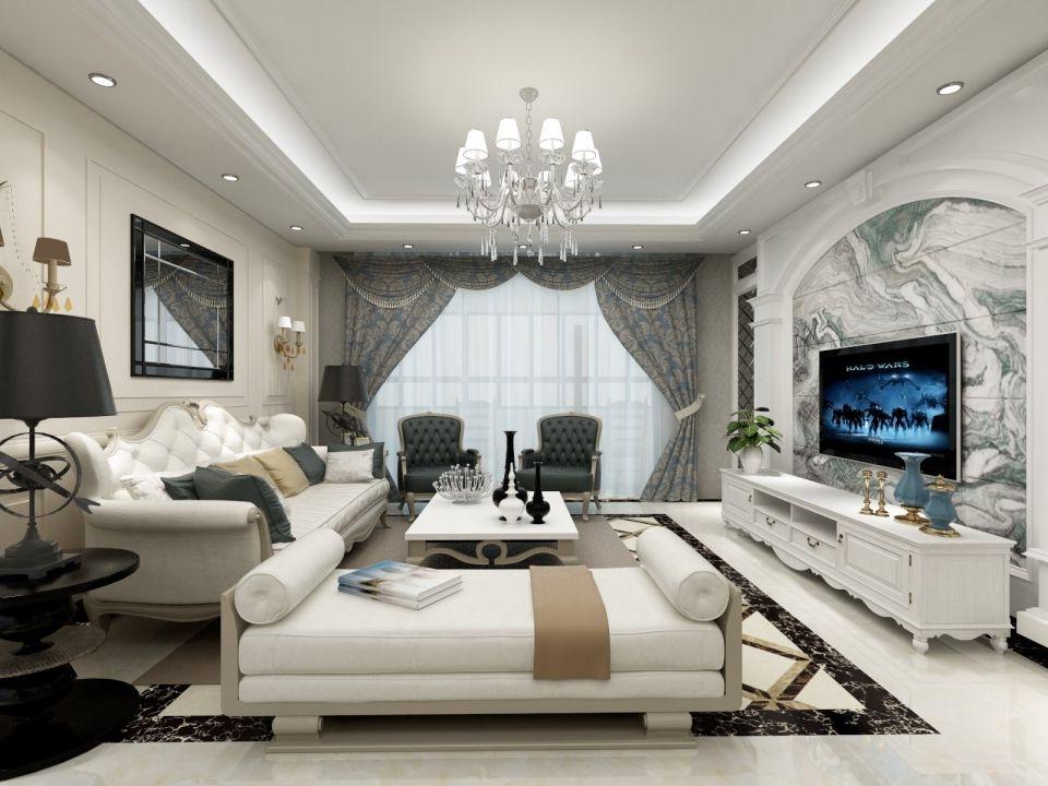 客厅白色吊顶欧式风格装潢效果图