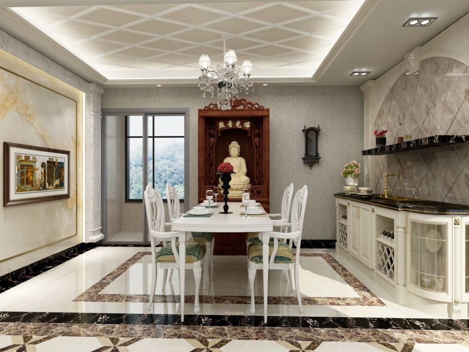 餐厅白色餐桌欧式风格装修图片