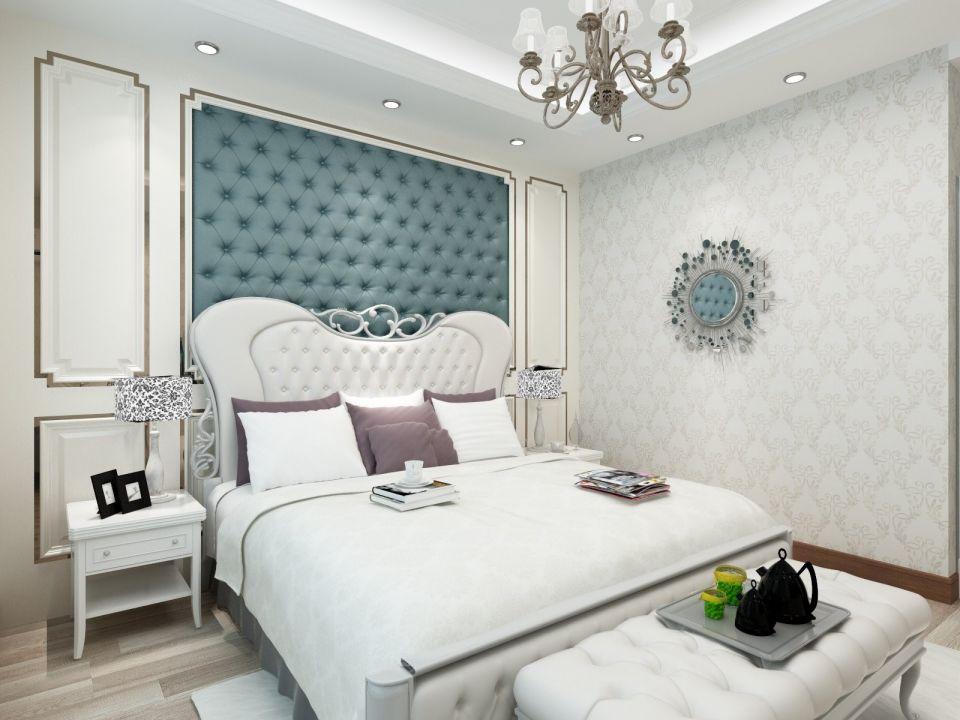 卧室蓝色背景墙欧式风格装饰图片