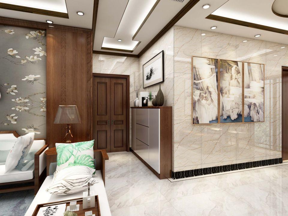 玄关白色吊顶新中式风格装潢图片