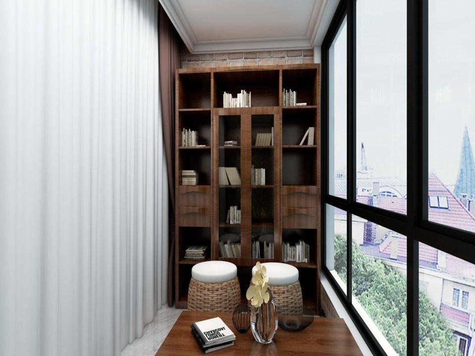 阳台白色吊顶新中式风格装潢设计图片