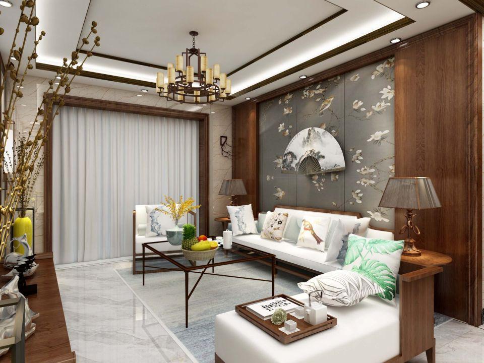 客厅白色沙发新中式风格效果图