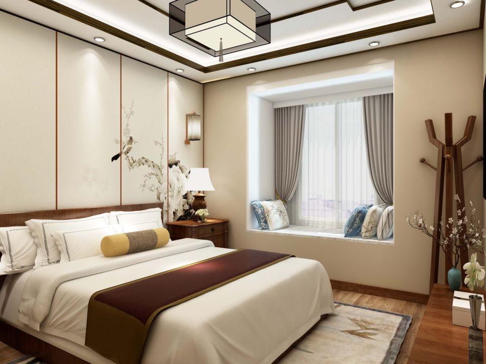 卧室米色背景墙新中式风格装修效果图