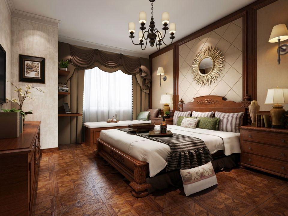 卧室米色背景墙美式风格效果图