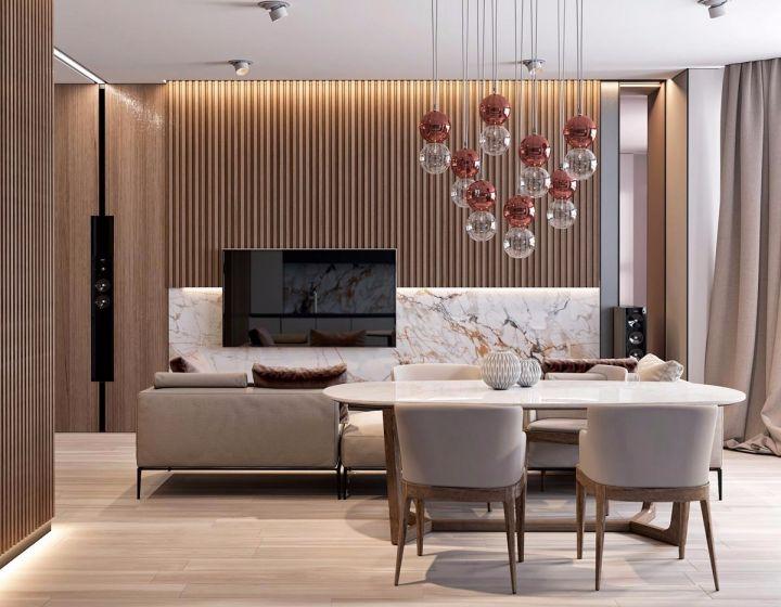 餐厅白色餐桌现代风格装修设计图片