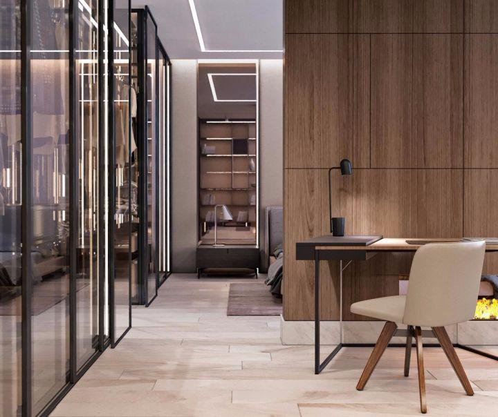 书房咖啡色书桌现代风格装修图片