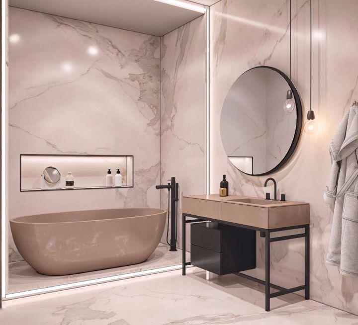 浴室咖啡色浴缸现代风格装潢图片