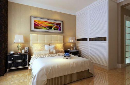 卧室米色背景墙现代风格装饰效果图
