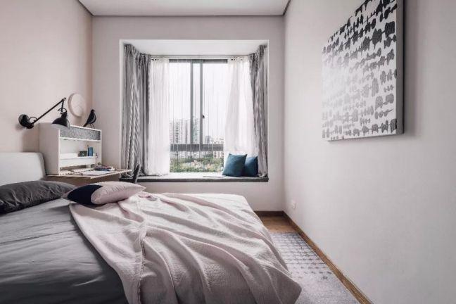 卧室白色飘窗现代风格装饰图片