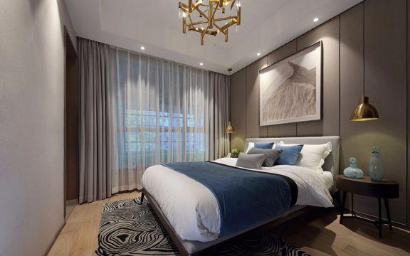 卧室灰色窗帘混搭风格装饰设计图片