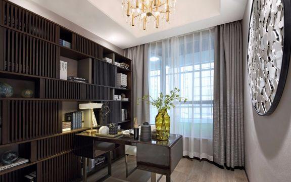 书房黑色书桌混搭风格装潢设计图片