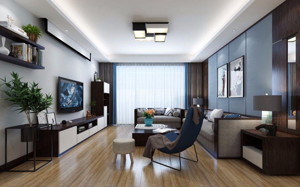 客厅蓝色背景墙北欧风格装潢设计图片
