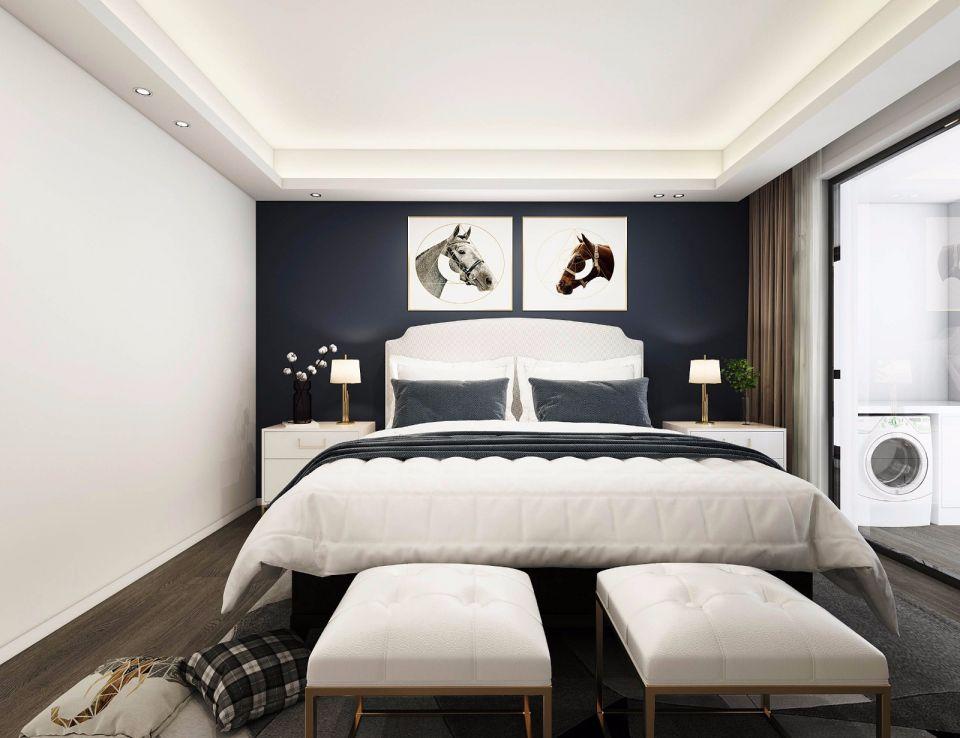 卧室灰色背景墙北欧风格装修效果图
