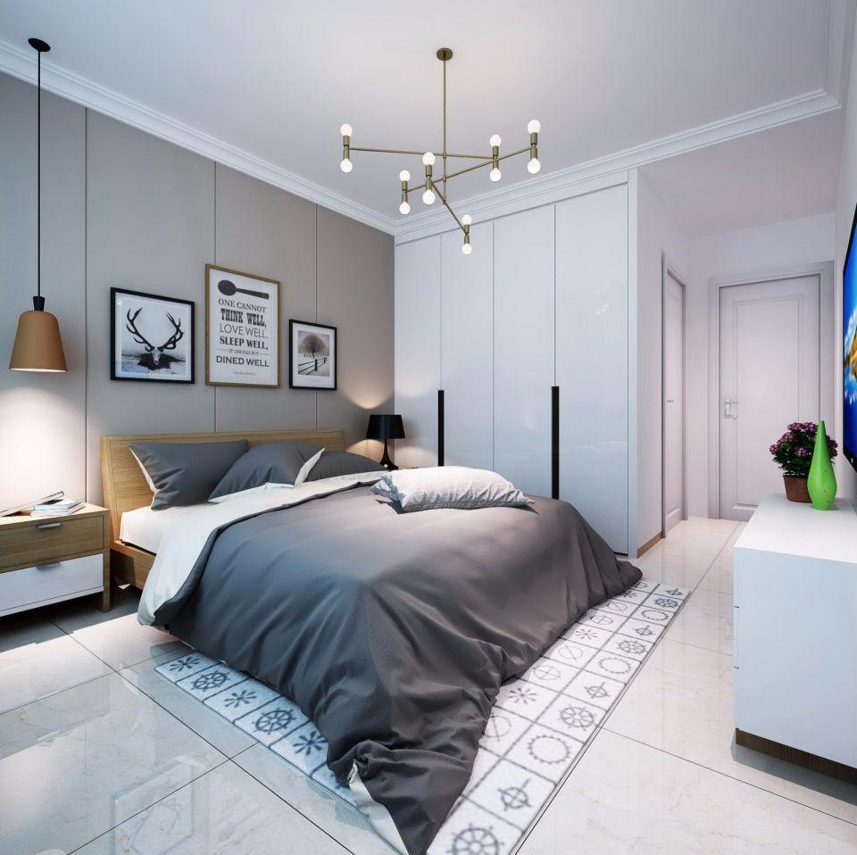 卧室白色吊顶北欧风格装饰效果图