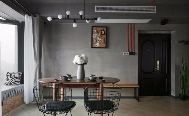 餐厅咖啡色餐桌混搭风格装饰效果图