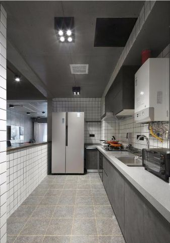 厨房灰色地板砖混搭风格装潢效果图