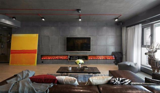 客厅灰色背景墙混搭风格装修图片