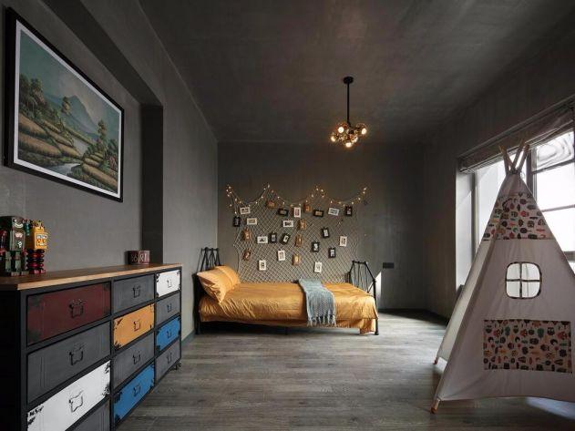 卧室灰色照片墙混搭风格装饰图片