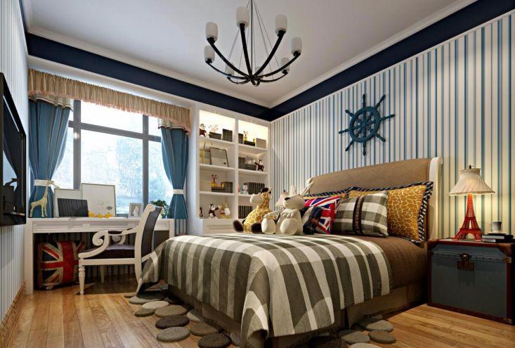 卧室蓝色窗帘地中海风格装饰效果图