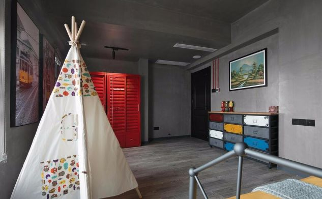 卧室红色衣柜混搭风格装潢图片