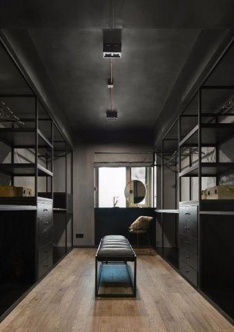 衣帽间咖啡色地板砖混搭风格装修设计图片
