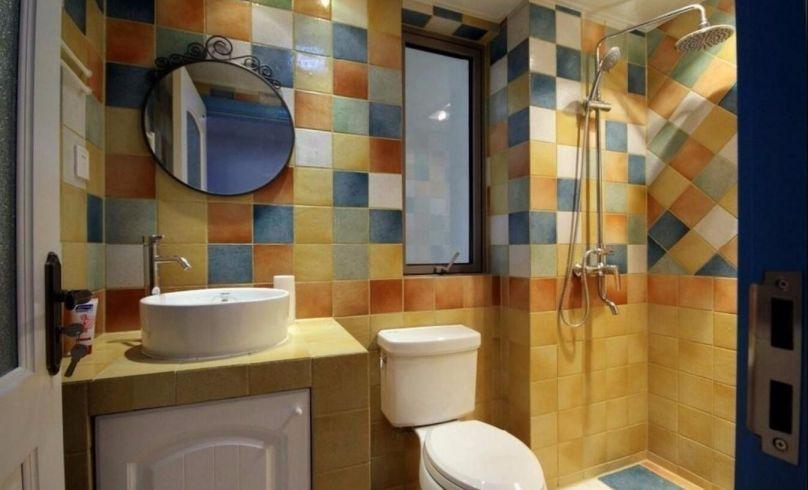 卫生间彩色背景墙地中海风格装潢效果图