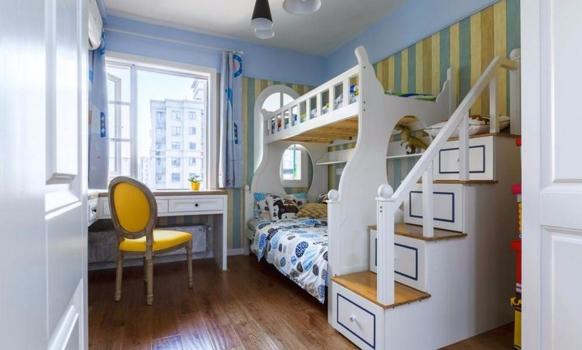 儿童房蓝色背景墙地中海风格装修图片