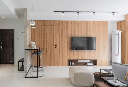 客厅黄色背景墙现代风格装潢图片
