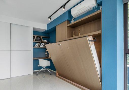 卧室蓝色背景墙现代风格效果图