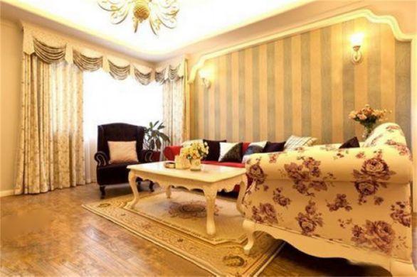 欧式田园风格130平米三室两厅新房装修效果图