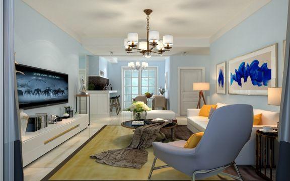 简约风格118平米三室两厅新房装修效果图