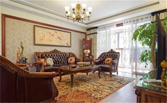 美式风格83平米两室两厅新房装修效果图