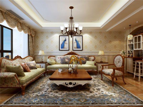 田园风格135平米三室两厅新房装修效果图