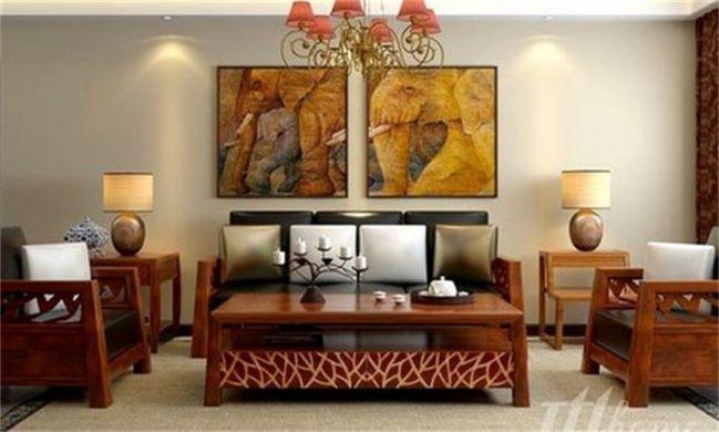 127平米东南亚风格三居室装修效果图