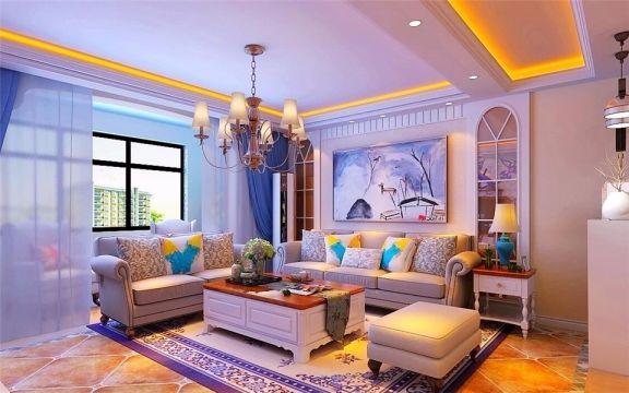 龙悦公馆129M²地中海风格楼房装修效果图