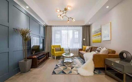 混搭风格90平米三室两厅新房装修效果图