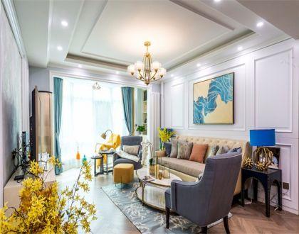 美式风格94平米三室两厅新房装修效果图