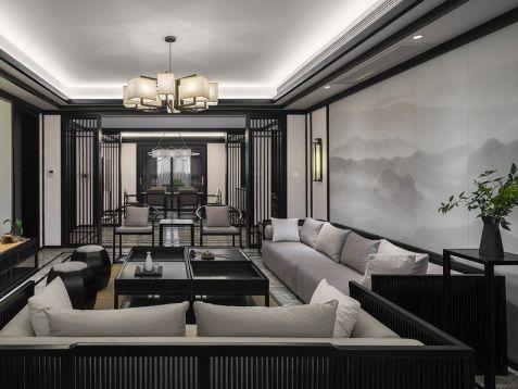 新中式风格200平米三居室装修效果图