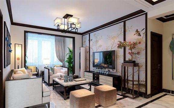 新中式风格132平米楼房新房装修效果图